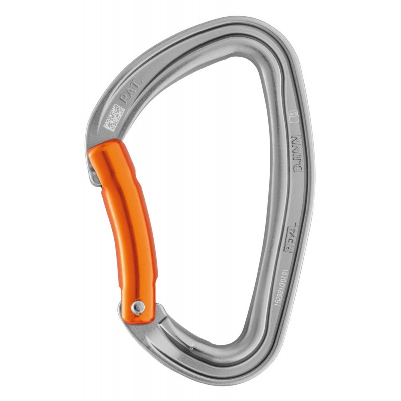 Petzl Djinn Durable carabiner for rock climbing, available in straight and bent gate versions